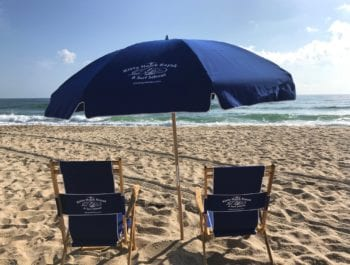 Umbrellas, Chairs & Tent Beach Setup